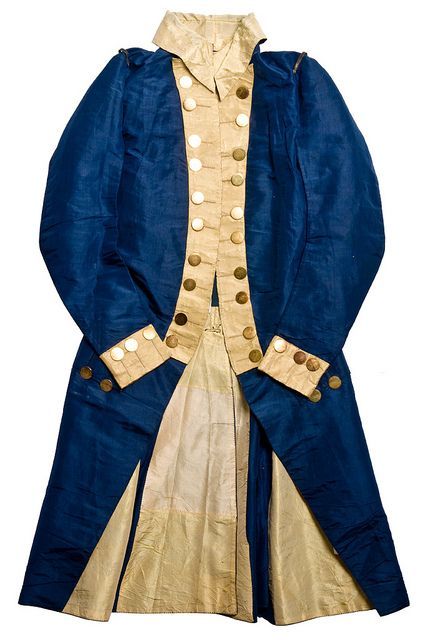 "Diplomatic uniform coat, 1790s, silk. ""This blue silk coat belonged to Charles Cotesworth Pinckney (1746-1825), South Carolina lawyer, statesman and politician. Pinckney was the son of Judge Charles Pinckney and famed Eliza Lucas. Although he fought in the Revolutionary War, it is more likely that this coat is from his service as Ambassador to France under George Washington and John Adams."""