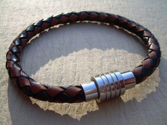 Mens Leather Bracelet, Stainless Steel Magnetic Clasp, Leather Bracelet, Mens…