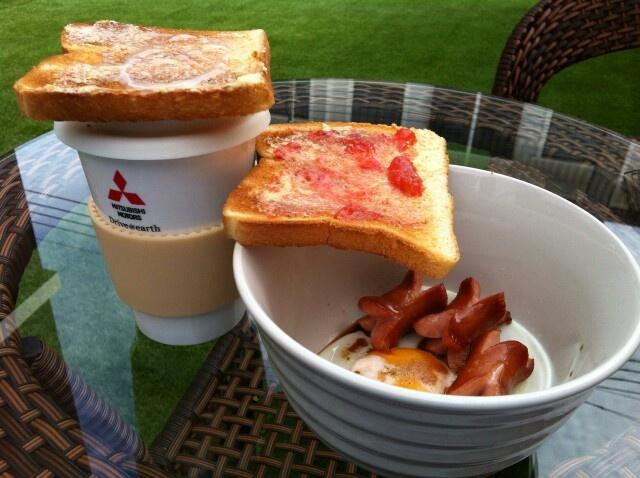 Homemade breakfast in the garden.