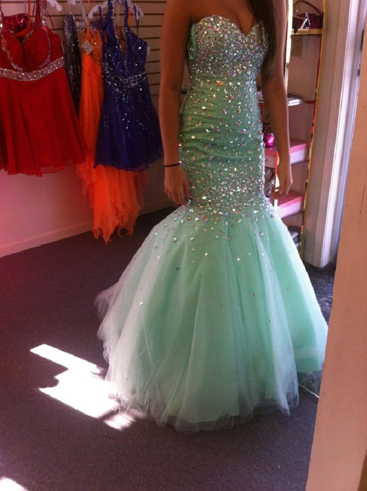 2016 Sexy Mermaid Cut Rhinestone Prom Dresses Abiti da Ballo di Fine Anno Sweetheart Neckline Long Formal Dresses for Teens
