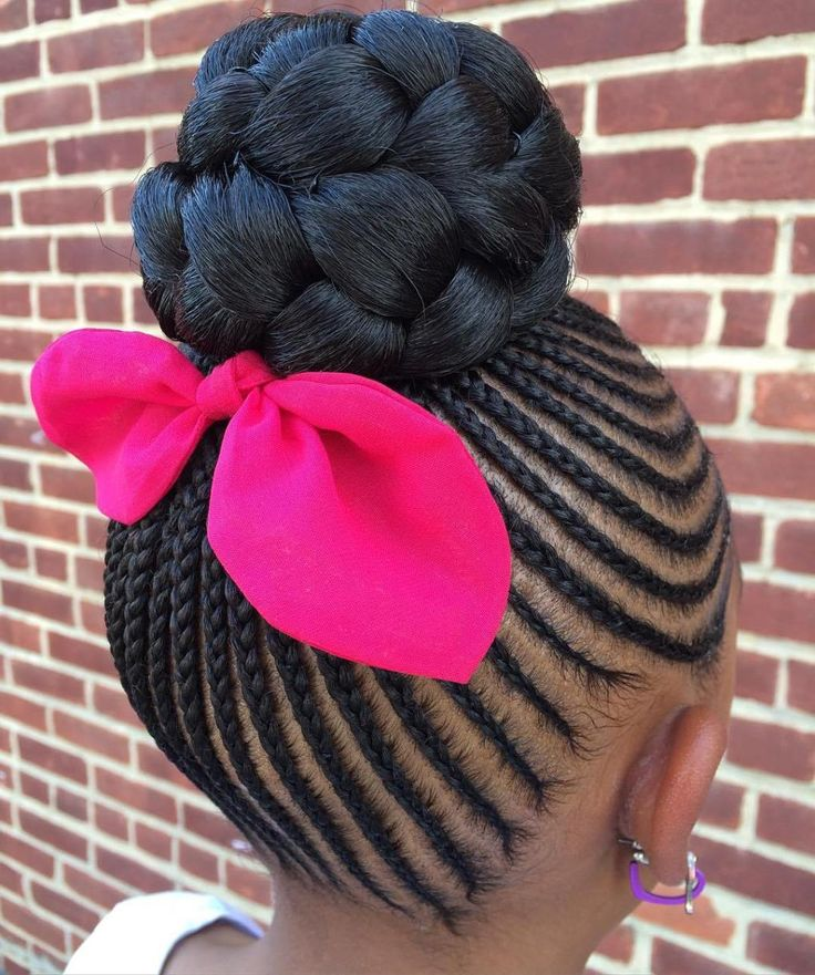 Cornrows With A Braided Bun For Girls
