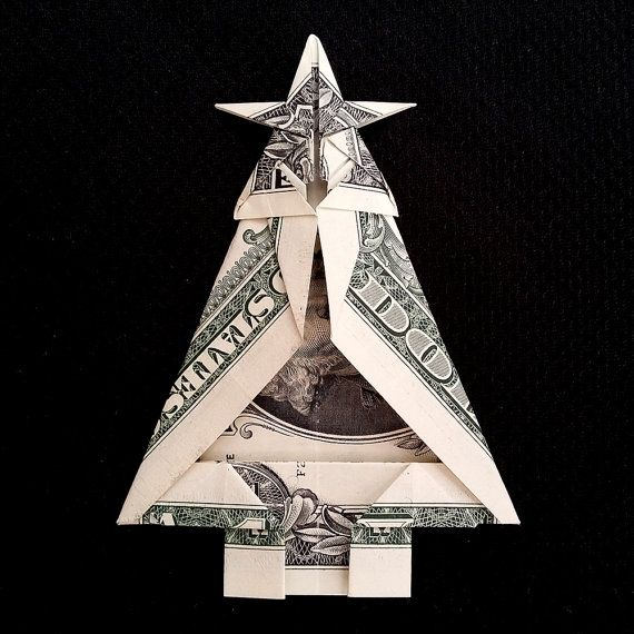 Money Origami CHRISTMAS TREE - Art Gift Made out of Real One Dollar Bill 3.3 x 2.4 x 0.1 (83 x 60 x 3mm) Each item is made with the highest quality and attention to details. Only $0.50 shipping cost for each additional item! I send by the Russian Post with tracking number. Shipping