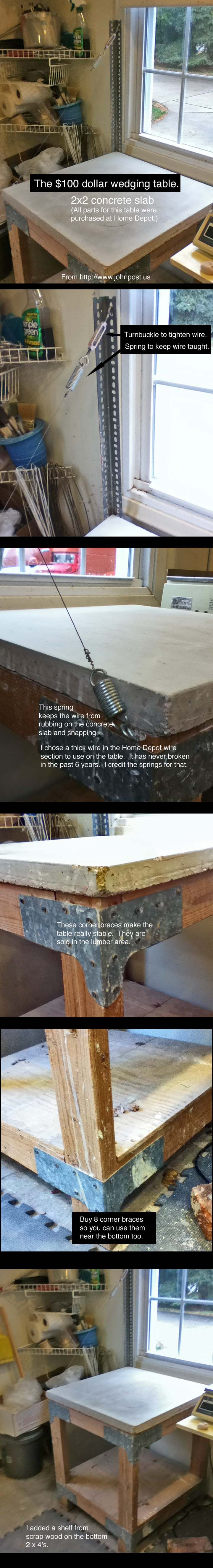 """This wedging table can be constructed for less than $100 in parts from Home Depot. If you are building one, make sure you start in the garden department. You'll need a """"smooth"""" 2x2 concrete paving stone/slab."""