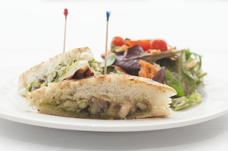Vegetarian masterpiece! Asparagus Panini                                                     gruyere cheese, caramelized onions, arugula pesto, lemon aioli served with choice of cup of soup or little field green salad tossed in a fig balsamic vinaigrette.  @Crocker Art Museum Cafe: Art Museum, Museums Cafe, Cafe K-Cup, Crocker Cafe