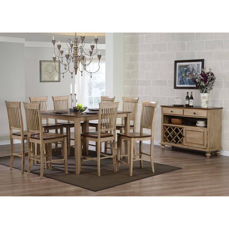 Sunset Trading 10-Piece Brook 48 in. Square Pub Dining Set with Fancy Slat Stools and Server - DLU-BR4848CB-B70-SRPW10PC