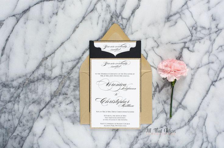 Elegant Wedding Invitations | Gold Glitter Wedding Invitations in pocket | Fancy Wedding Invitations | Book wedding invitations | Veronica
