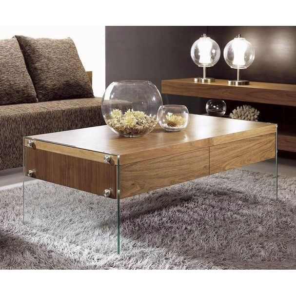 Modern Walnut Veneer Rectangular Coffee Table Ako.