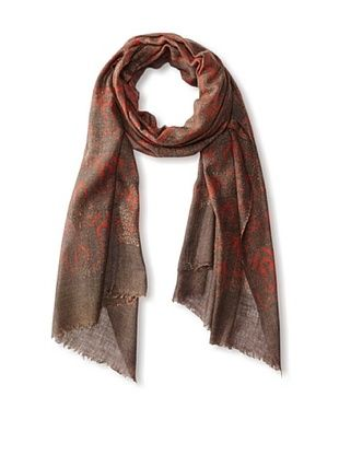71% OFF MILA Trends Women's Hand Block Print Wool Scarf, Taupe/Red Multi