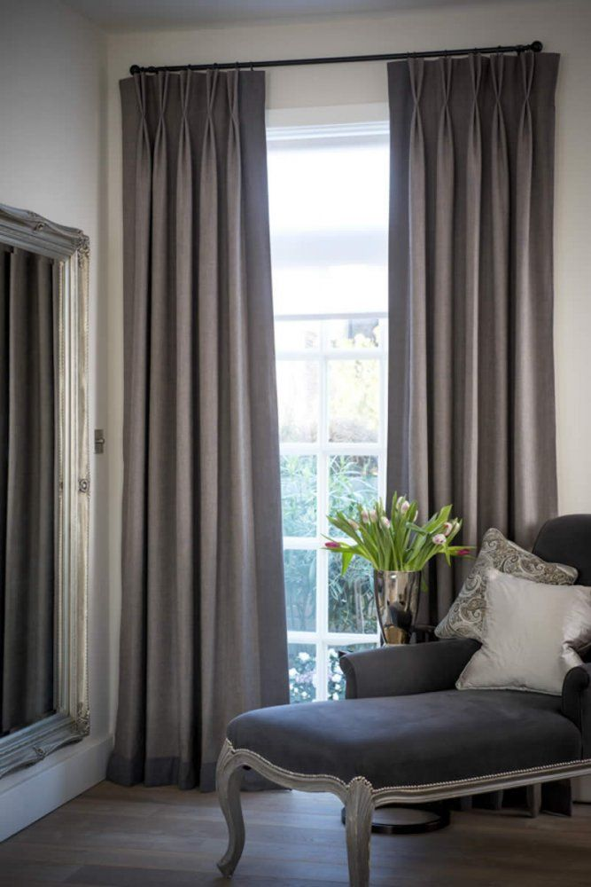 I like the subtle leading & bottom edge borders on these curtains.