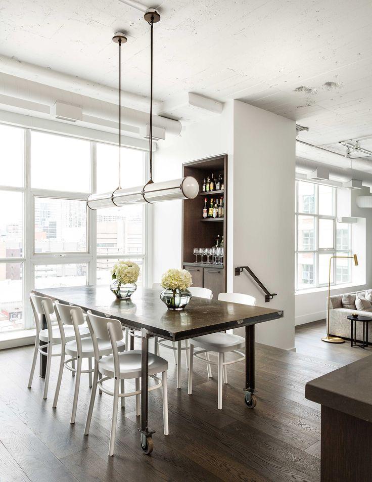 A Modern Industrial Loft, open dining room, Roll & Hill's Endless Light by Jason Miller