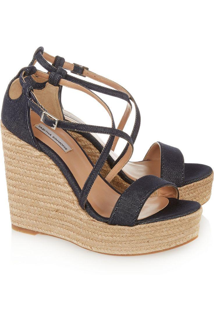 Tabitha Simmons Jenny denim espadrille wedge sandals €375