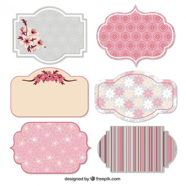 Etiquetas da mola em tons de rosa Vetor grátis