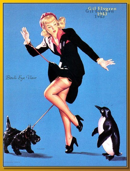 Tap dancing?: Birdsey View, Scottie Dogs, Elvgren Pinup, Vintage Pinup, Birds Eye View, Pinup Art, Gil Elvgren, Fashion Artillustr, Pin Up Girls