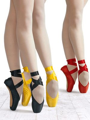I love black and red pointe shoes. I've never seen those hideous yellow things though.