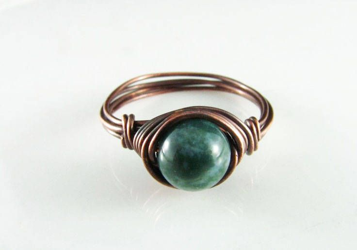 Wire Wrapped Ring Fancy Jasper Ring Copper Ring Wire Wrapped Jewelry Green Jasper Ring Copper Jewelry by PolymerPlayin on Etsy