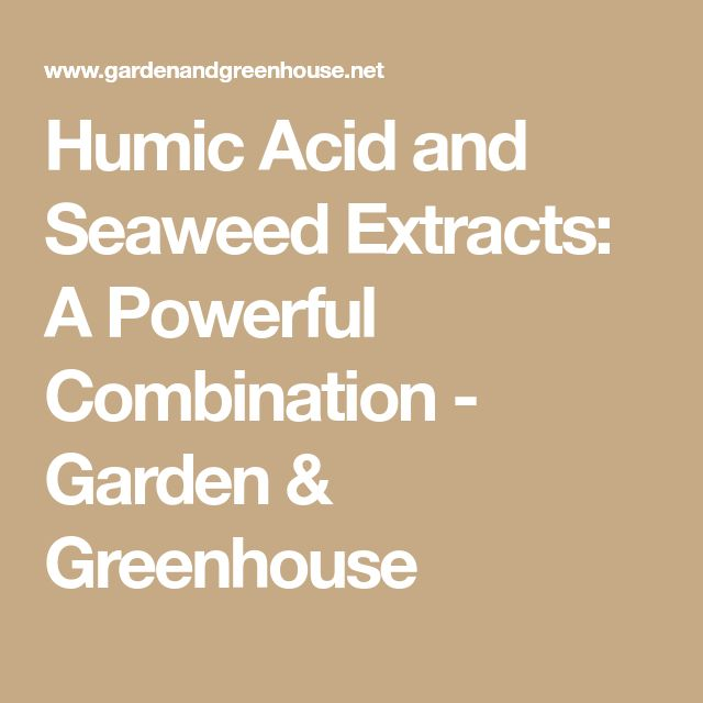 Humic Acid and Seaweed Extracts: A Powerful Combination - Garden & Greenhouse