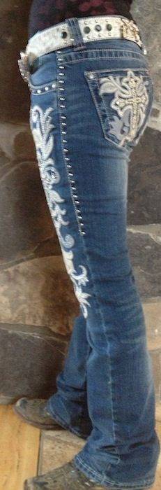 Different, but pretty cute! Trinity Ranch Blue and white Cross Jeans