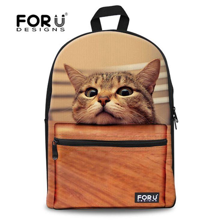 Mode anak sekolah lucu 3d hewan cat tas sekolah untuk anak perempuan kasual anak-anak sekolah perempuan bahu tas buku mochila escolar