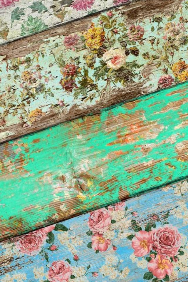 Shabby Chic Vintage Floral Wallpapered floorboards, distressed & sealed. GORGEOUS!! (Pic via Graham & Brown)