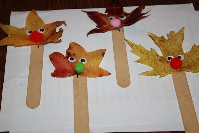 Fun Fall Craft Idea for Kids : Make Your Own Leaf Puppet. Use a fall leaf & glue to popsicle stick. Decorate to make into a little puppet!