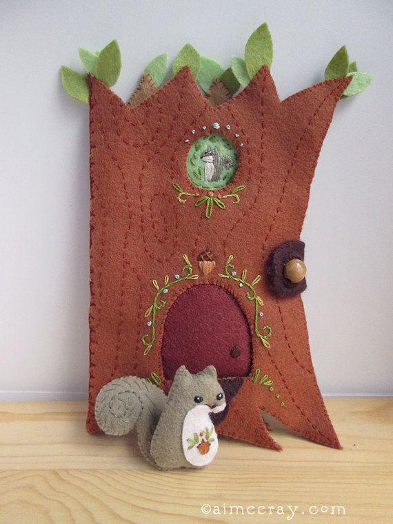 Feliz árbol casa ardilla fieltro patrones de coser por littledear