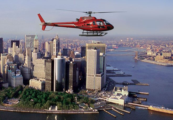 New York: flew over the city with Liberty Helicopters