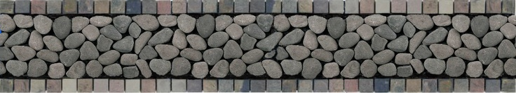 Photoshopped mockup of my future kitchen backsplash, using river rock tiles and slate mosaic tiles from Home Depot