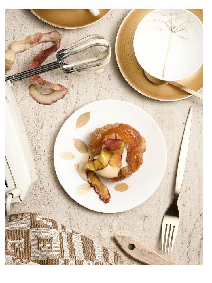 ELLE ETEN MAGAZINE (www.elleeten.nl)  last minute tarte tatin with fried peel and sherry sabayon  PHOTOGRAHPY Carlfried Verwaayen STYLING: Evelien Reich  FOOD STYLING & RECIPE: www.vanja.cc