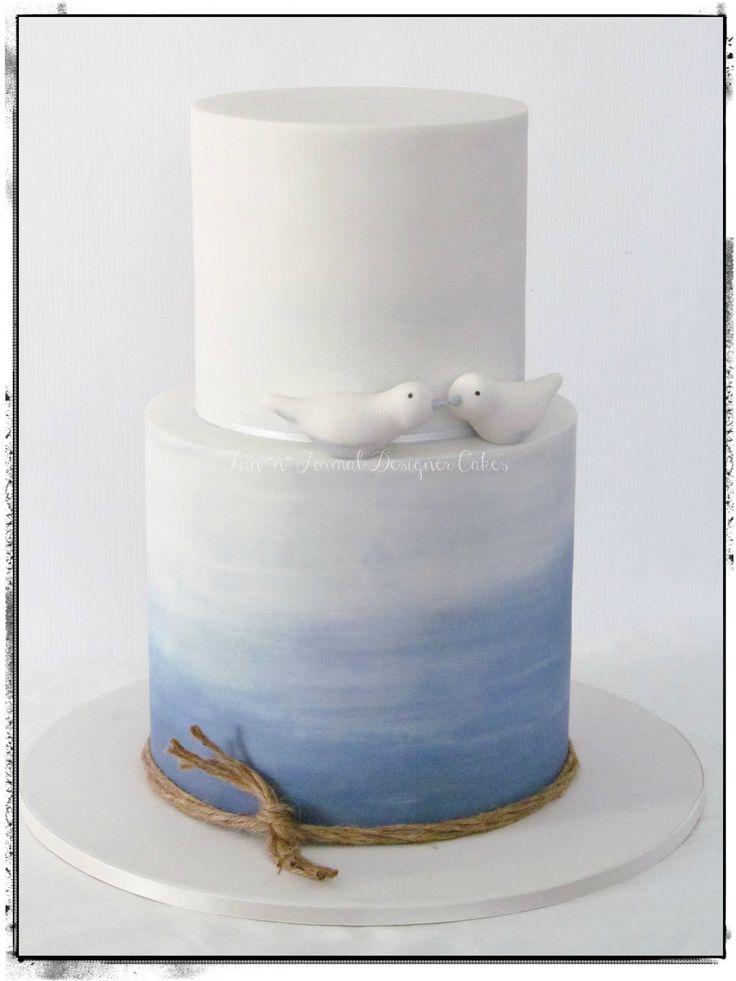 Blue water colour engagement cake – Konfirmation