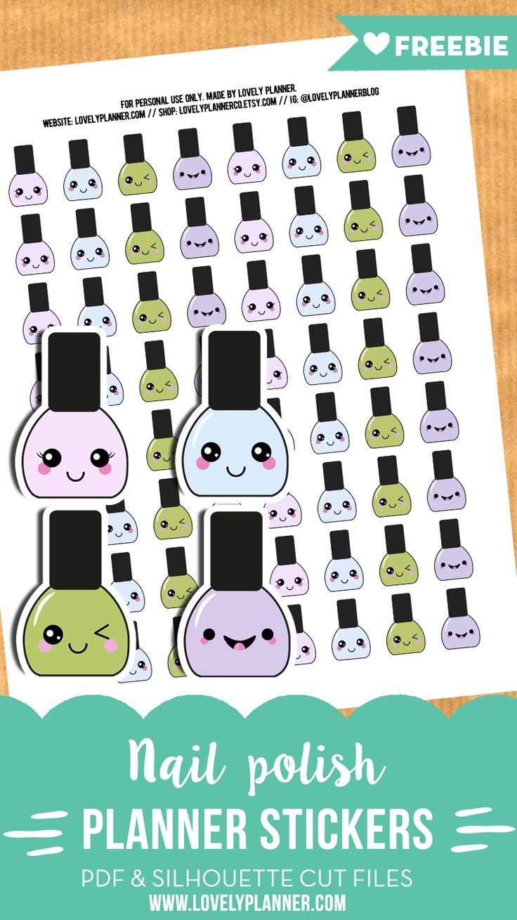 Free Printable Kawaii Nail Polish Planner Stickers {PDF and Silhouette cut files included} from Lovely Planner