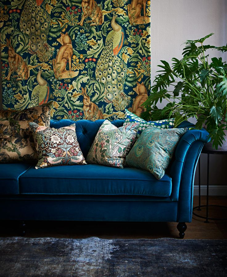 Change of fabrics - great inspiration if you love color and pattern - Comfortable home