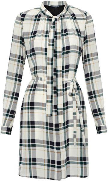 Fast Fluid Silk Check Dress - Lyst