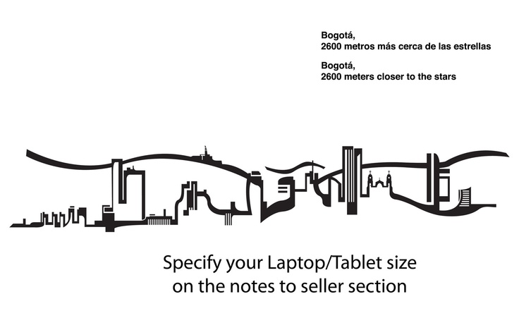 Bogota Colombia Skyline Sticker Decal Laptop Decal iPad. $11.00, via Etsy.