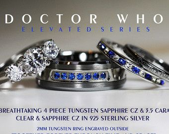 Breathtaking 4 Piece Doctor Who His 8mm SapphireTungsten + Hers 925 Sterling Silver 3.5 Carat Brilliant Cut & Sapphire CZ Wedding Ring Set,