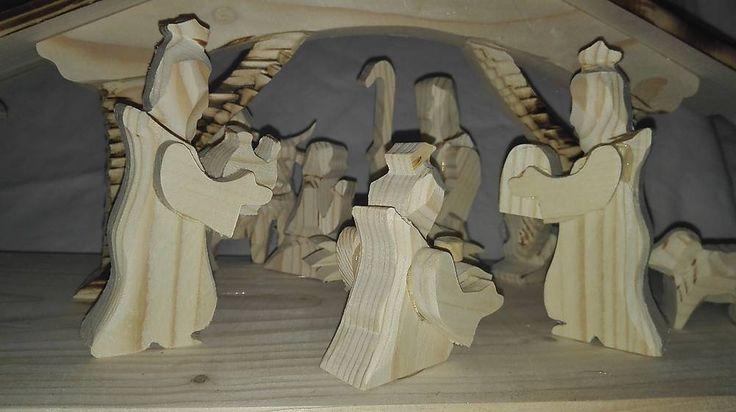 Dekorácie - veľký ručne vyrobený drevený betlehem - 6222993_