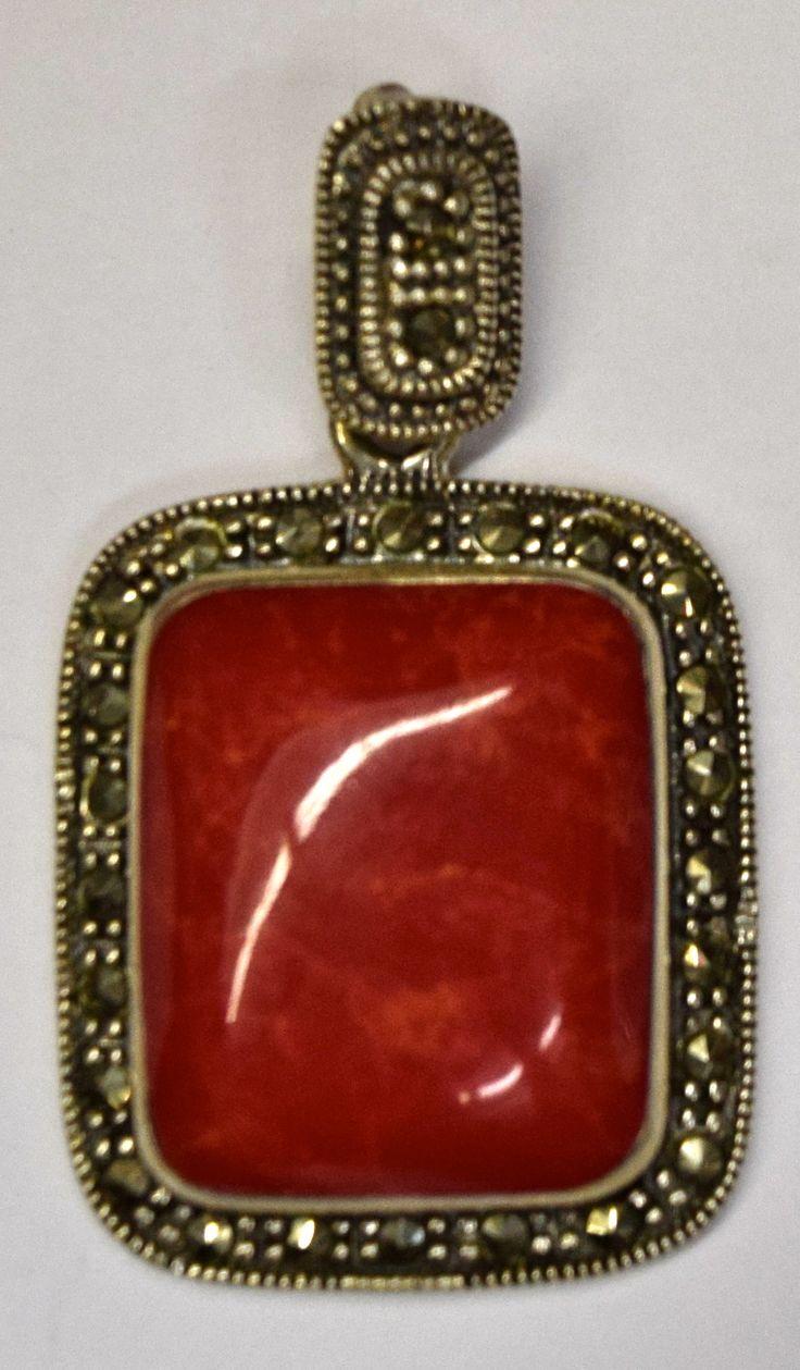 Vintage Silver, Pressed Coral & Marcasite Pendant