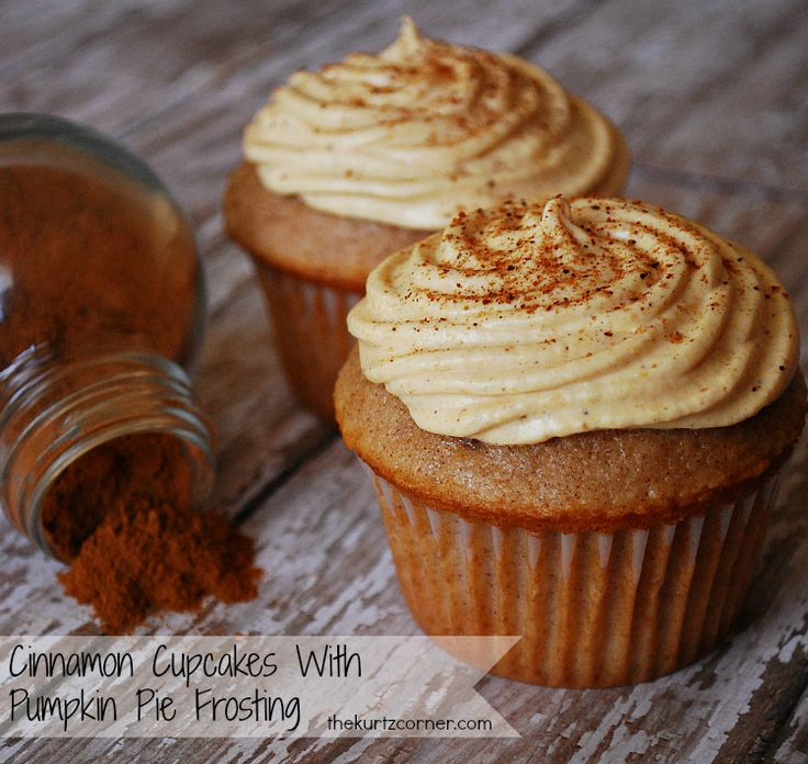 Cinnamon Cupcakes With Pumpkin Pie Frosting. ahhhhhh!!!!! @Jessica Grissett