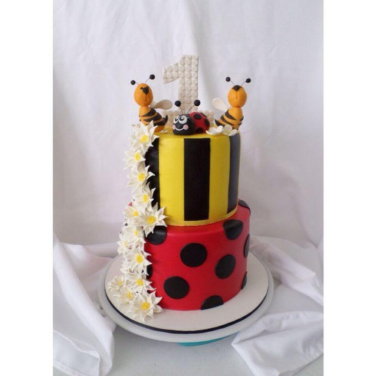 Bumble bee & Lady bird custom made birthday cake