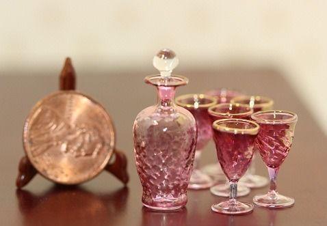 New!!! Miniature Artisan Phillip Grenyer Cranberry Crystaline Decanter Set