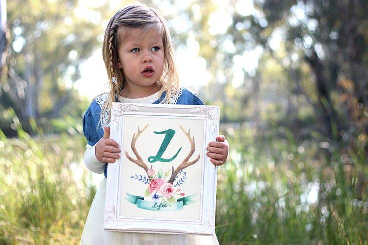 Personalized Monogram Nursery Wall Art - Printable Art - Girl Nursery Decor - Boho Printable - Digital Art - Watercolor Art - Initial Print by SmudgeCreativeDesign on Etsy