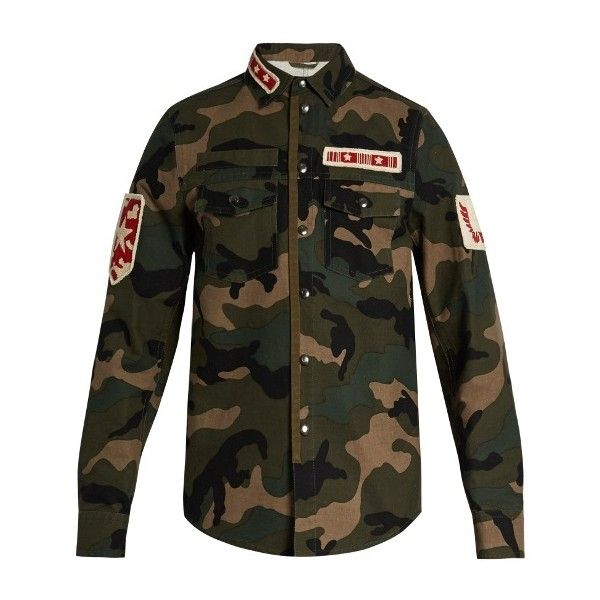 Valentino Patch-appliqué camouflage-print cotton jacket ($2,895) ❤ liked on Polyvore featuring men's fashion, men's clothing, men's outerwear, men's jackets, green multi, mens cotton jacket, mens green jacket, mens lightweight cotton jacket, mens slim jacket and mens light weight jackets