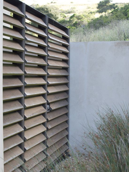 "Louvred privacy screen... Modern and unique privacy screen. This would look great in our deck and pergola we're planning. Would suit out ""tropical bali"" vision. Back yard ideas..."