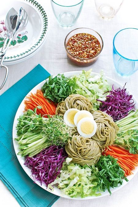 Jaengban guksu - A Korean cold noodle dish served in a large platter with lots of fresh vegetables! Perfect for hot summer days!