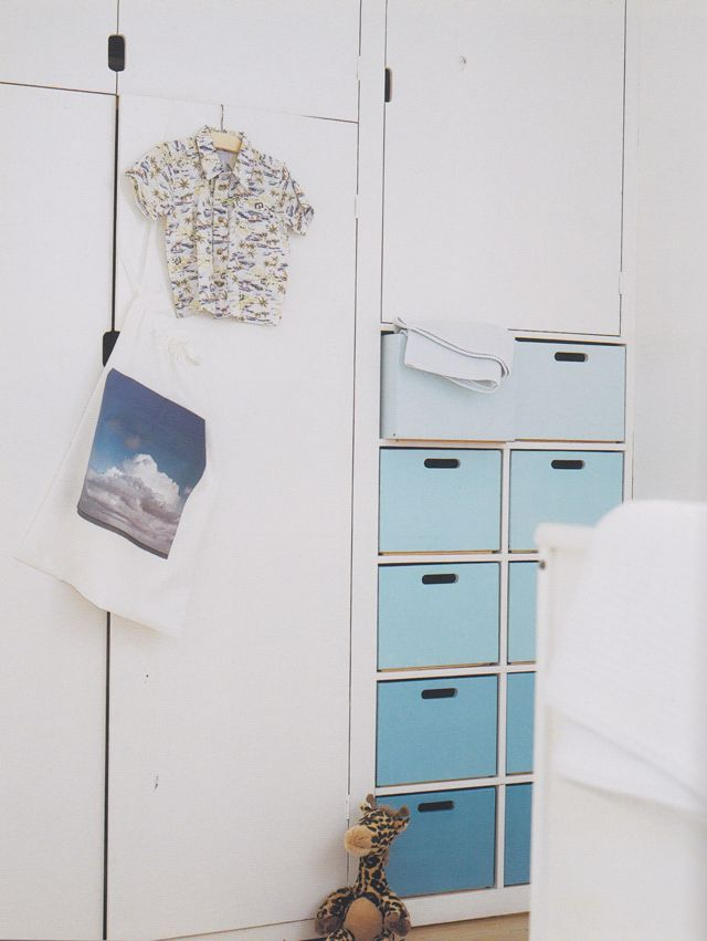 Built-In Cabinets and Blue Ombre Drawers - #ombre #storage