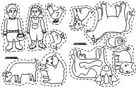 farmer in the dell coloring pages | May use these farm animal Old MacDonald stick puppet ...