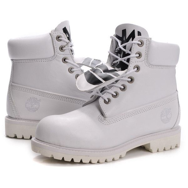 New Arrival Fashion Timberland 6 Inch Men all white For Cheapest Save... ❤ liked on Polyvore featuring mens, men's shoes, shoes and boots