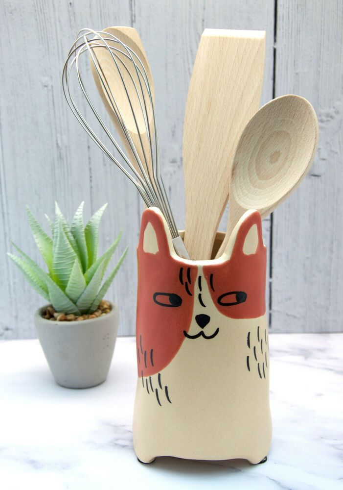 Parlane Ginger White Ceramic Cat Kitchen Utensil Holder Vase Purrfect Gift Contemporary
