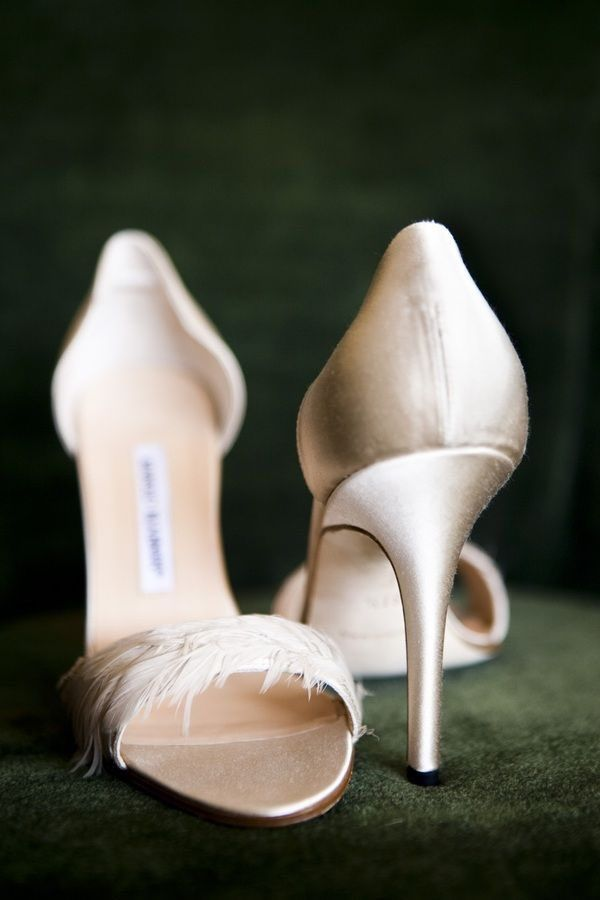 An elegant blush champagne colored heel will compliment any wedding dress! Shoes: Manolo Blahnik; Photographer: Christian Oth Studios  | blush wedding | www.endorajewellery.etsy.com