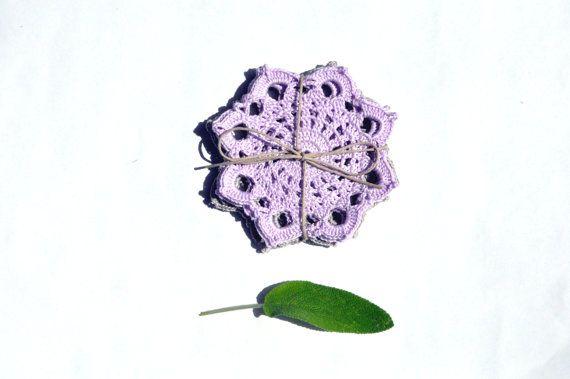 Crocheted Coasters/ Cotton Dove grey and by manufattofattoamano, €9.00