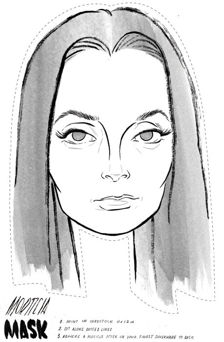 happy halloween!  printable morticia addams family mask